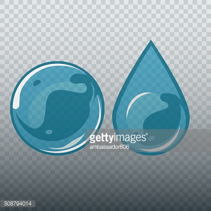 Transparent underwater bubble and drop