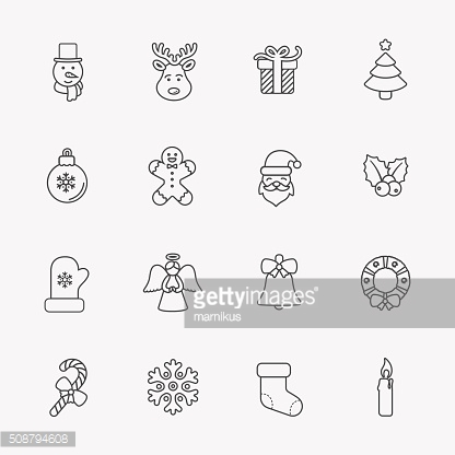 Christmas icons, thin line style, on white.