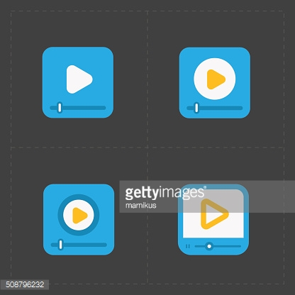 Modern vector flat video player icons.