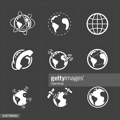Earth vector icons set on dark background.