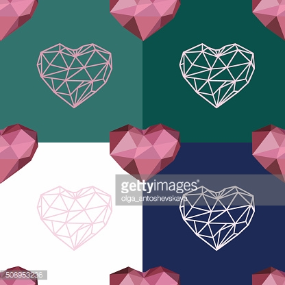 seamless pattern with polygonal heart and contour heart.