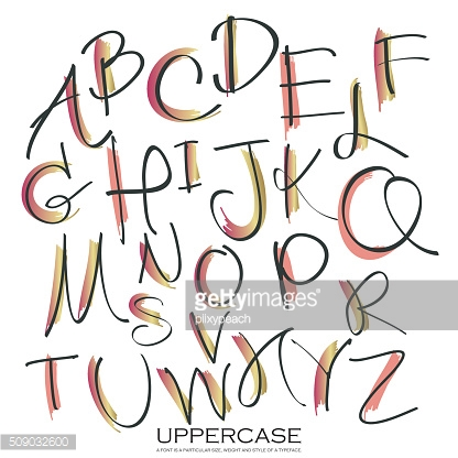 Black pink gold colorful ink alphabet letters.Hand drawn written