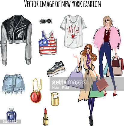 Vector image with fashion items