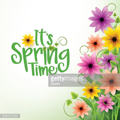 Spring Time Text in White Background with 3D Colorful Flowers