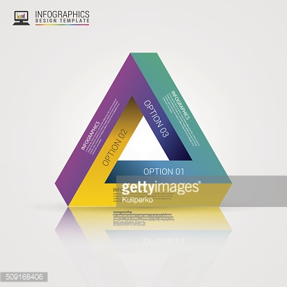 Modern infinite triangle. Infographics template. Vector