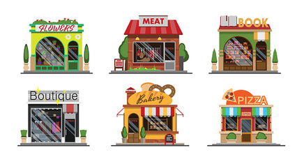 Different flat style shops