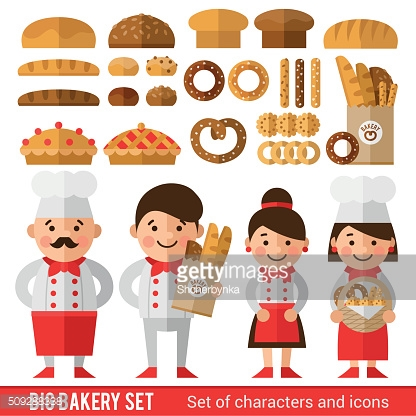 Stylish set of characters and icons on the bakery theme