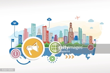 Loudspeaker and cityscape background with different icon and ele