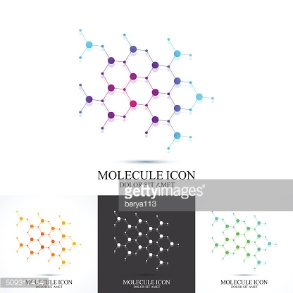 Modern set icon dna and molecule. Vector template for medicine