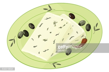 Cheese, olives and chilli on plate