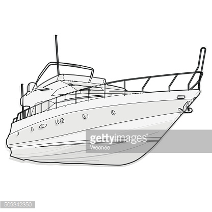 Nice wire black white boat on white, fishing outline ship.