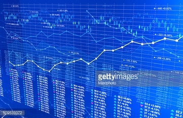 Stock market infographics background with line charts, blue light