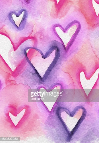Hand painted hearts in pink and purple on white paper