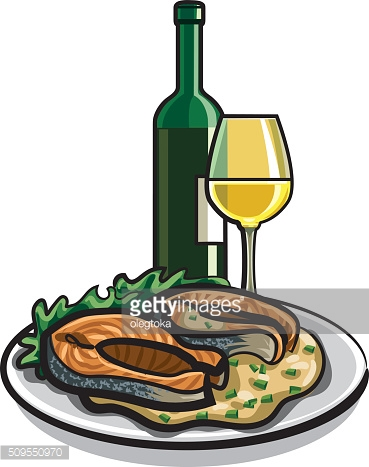 grilled salmon and wine
