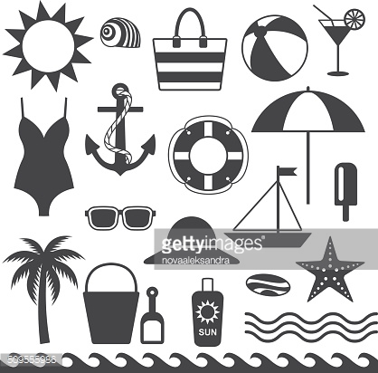 Sea symbols silhouette icons vector set 1