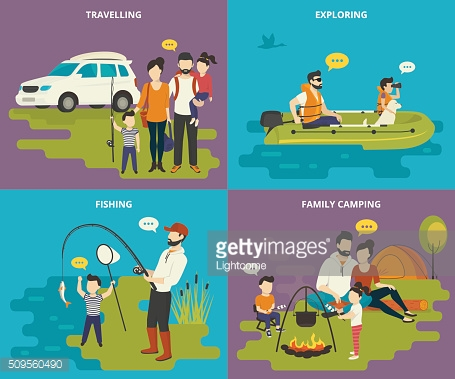 Family with kids concept flat icons set of travelling, fishing