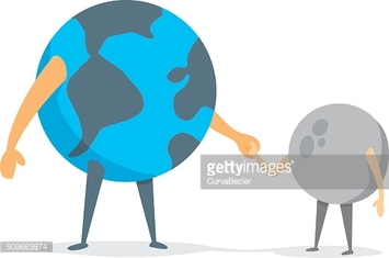 Earth and moon holding hands