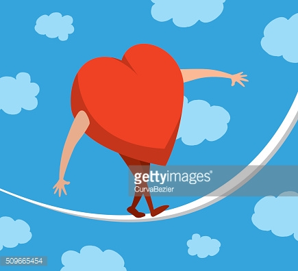 Heart or love in balance walking on a string