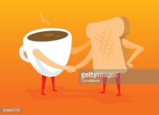 Coffee and toast shaking hands