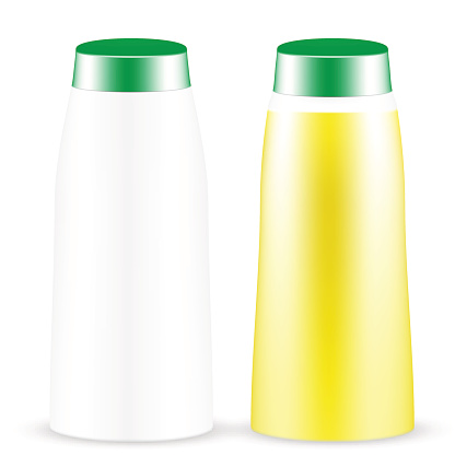 Bottle with green cap for liquid or juice drink