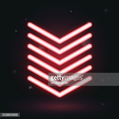 Vector red glowing arrows on black background, down symbol