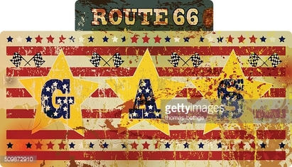grungy retro route 66 gas station sign