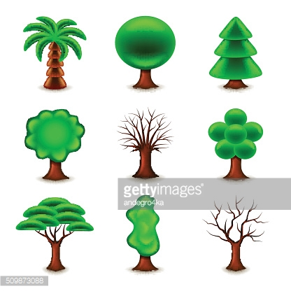 Tree forms icons vector set