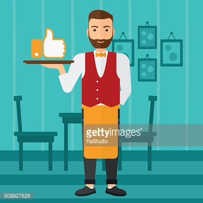 Waiter with like button