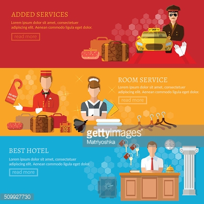 Hotel service banner reception reservation cleaning concierge