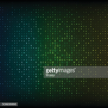 Glowing mosaic of letters alphabet on dark background