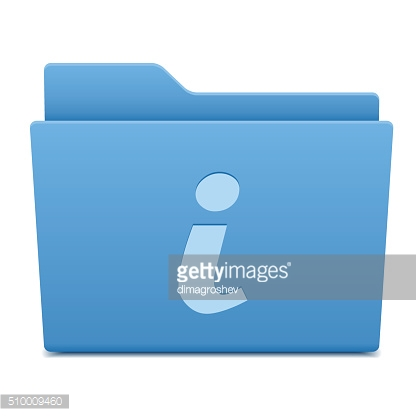 information icon on blue folder
