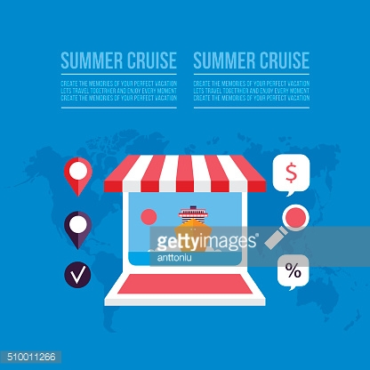 Buying travel tickets online Cruise trip booking background with laptop