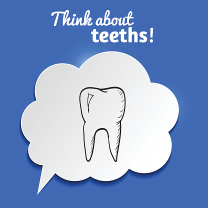 Paper bubble with hand-drawn tooth on blue background