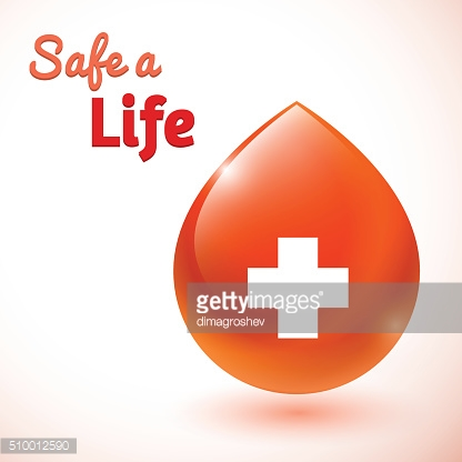 Safe a life. Cross symbol on red blood drop