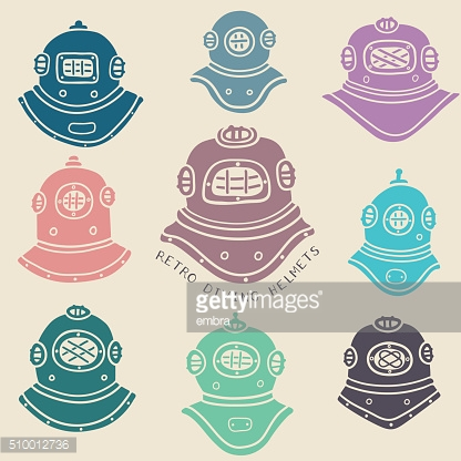 Vector retro diving helmets set