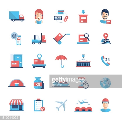 Delivery service modern flat design icons and pictograms