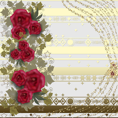 Floral card red roses flowers on light background