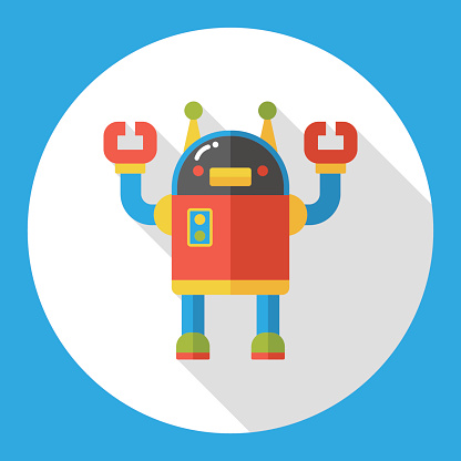 Space machine robot flat icon
