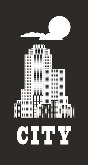 skyscrapers retro poster