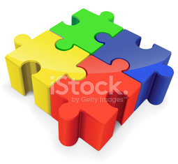 Four color puzzle piece