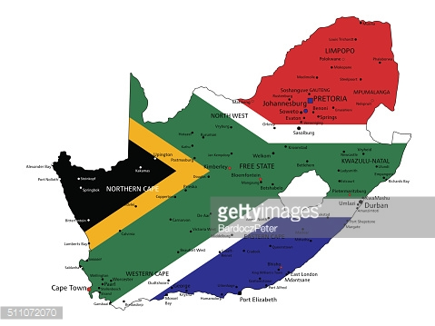 South Africa highly detailed political map with national flag.
