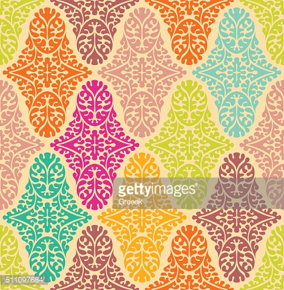 Vector colorfull seamless damask pattern