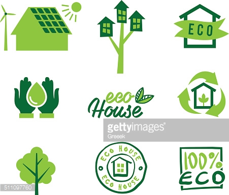 Set icons eco home, saving energy and water, garbage recycling