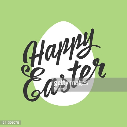 Happy Easter greeting Card, hand-drawing Lettering, egg on color background