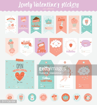Valentines day gift tags, stickers and labels