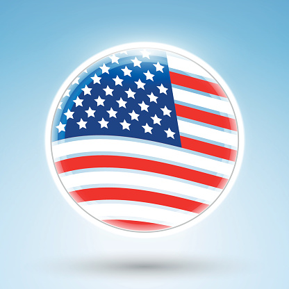 Abstract design of American national flag in sphere, circle, orb