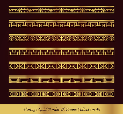 Vintage Gold Border Frame Vector Collection 49
