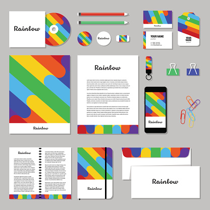 Vector stationery template design with Rainbow