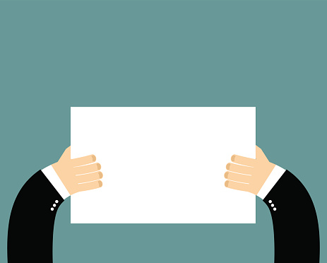 Hands and pure blank billboard banner sign. Businessman holding