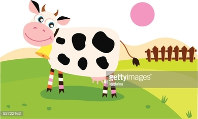 Happy cow on meadow